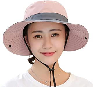 Yimidear Summer Sun Hat, Women Girls Foldable Wide Brim Hat UV Protection Bucket Cap Ponytail for Beach Safari Fishing