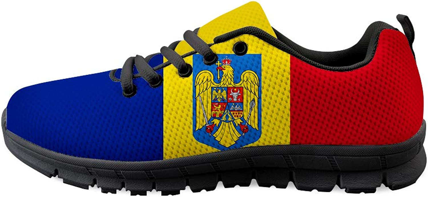 Owaheson Lace-up Sneaker Training shoes Mens Womens Romania Flag National Emblem