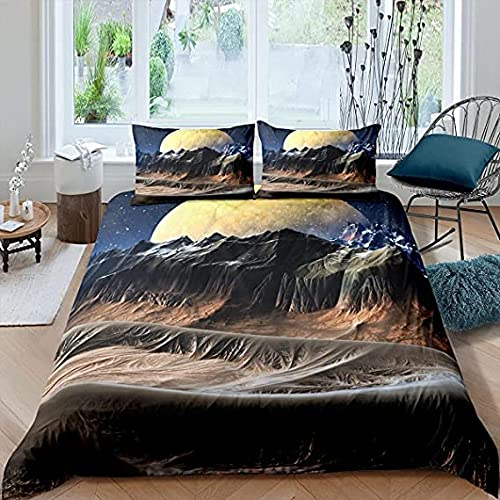 HSBZLH Galaxy Duvet Cover Set Moon Starry Sky Bedding Set for Teens Mountain Natural Soft Comforter Cover Quilt Cover 3Pcs