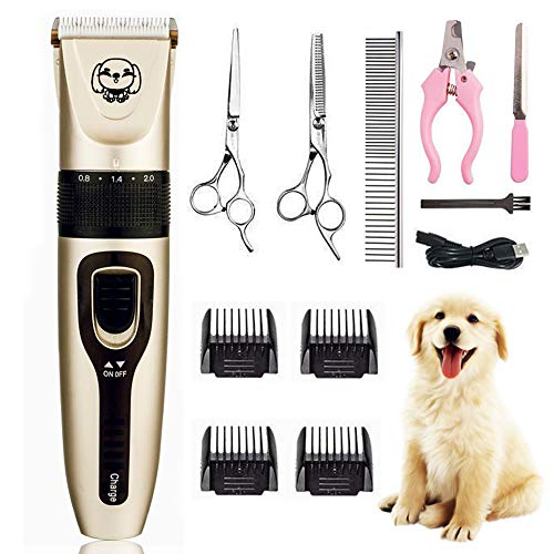 WIVIC Dog Clippers, Low Noise Dogs Grooming Clippers USB Rechargeable Pet Grooming Tool Professional Dog Hair Trimmer with Comb Guides...
