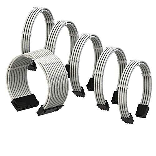 LINKUP - Cable con Manguito - Prolongación de Cable para Fuente de Alimentación con Kit de Alineadores - Compatible con RTX3090┃1x 24P (20+4) MB┃2X 8P (4+4) CPU┃3X 8P (6+2) GPU┃50CM 500MM - Blanco