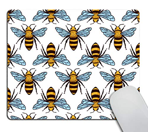 Smooffly Black and Yellow Bees Mousepad Non-Slip Rubber Gaming Mouse Pad Rectangle Mouse Pads for Computers Laptop