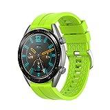 Correa Compatible con Huawei Watch GT/GT2 46mm/GT 2e/Honor Magic Watch 2 46mm Correas de Silicona, 22mm Impermeable Banda Deportiva Pulsera de Repuesto para Hombre y Mujer (Verde Lima)