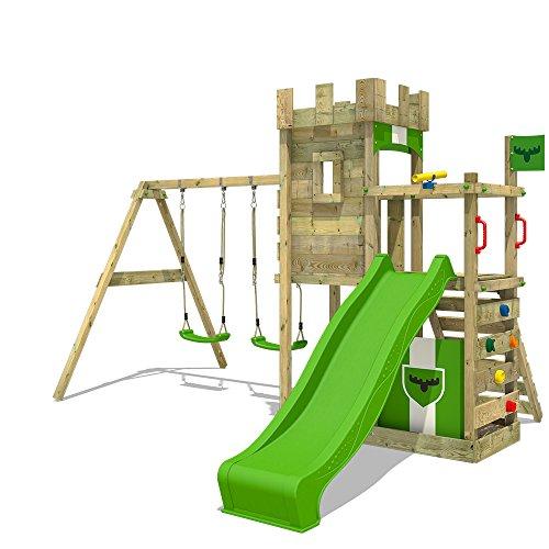 FATMOOSE Speeltoestel voor tuin BoldBaron met schommel en appelgroene glijbaan, Houten speeltuig, Klimtoestel voor buiten met zandbak en klimladder voor kinderen