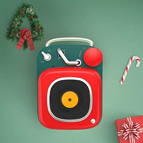 YPSMLYY Tragbarer Retro-Funklautsprecher Creative BT Bluetooth-Lautsprecher Im Atomic-Plattenspieler-Stil Mini-Subwoofer-Musik-Player,Red