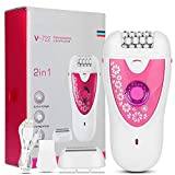 Depiladora corporal para mujeres, máquina de afeitar eléctrica portátil sin dolor para todo el cuerpo, depiladora con cubierta protectora, cepillo de limpieza y línea USB