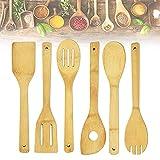 QUCUMER6 Pcs Cubiertos de Madera para Cocinar Utensilios de Bambú para Cocina 30cm de Larga Cuchara Madera Cocina Paletas de Cocina de Madera Set Cucharas Cocina para Cocinar, Natural, Comodo de Usar