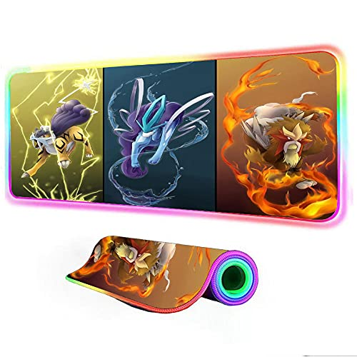 Tapis de Souris Pokemon RGB Accessoires de Jeu XXL Lumineux...