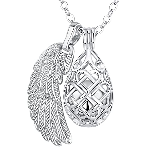 INFUSEU Pet Urns Necklace for Dog Cat Ashes Keepsake, Human Cremation Memorial Jewelry for Loss of Loved One Dad Mom Grandma Grandpa, Womens Teadrop Celtic Knot and Angel Wing Pendant