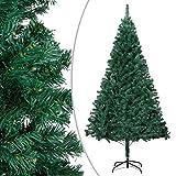 vidaXL Árbol de Navidad Artificial con Ramas Gruesas Decoración Adornos Festivos Navideño Realista Interior Exterior Económica PVC Verde 210 cm