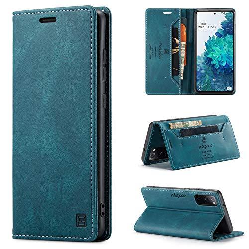 uslion Hülle für Samsung Galaxy S20 FE 4G/5G RFID SchutzHandyhülle Kartenfach Geld Slot Ständer Flip Hülle Magnetisch Klapphülle Lederhülle Schutzhülle für Samsung Galaxy S20 FE 4G/5G - Blau