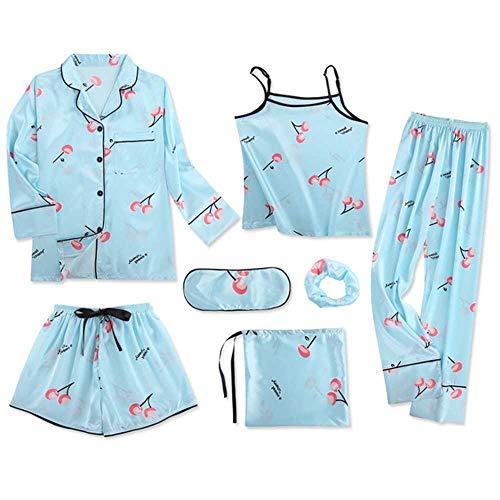 Damen-Schlafanzug-Set, 7-teilig, Emulation, Seide, gestreift, Schlafanzug, für Frühling, Sommer, Herbst Gr. Large, 04