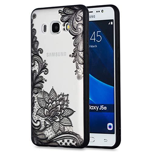 Carols Coque Samsung Galaxy J5 2016 / SM-J510, Motif de Dentelle en Relief Samsung Galaxy J5 2016 / SM-J510 (5,2 Zoll) Étui TPU Silicone Souple Coque - Fleur Diagonale Noire