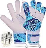 Keeperking Guantes de portero para niños con y sin protección para los dedos, guantes de fútbol para niños, agarre profesional, 4 mm, látex alemán, unisex, (6, blanco/azul/cine con FS)