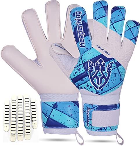 Keeperking Guantes de portero para niños con y sin protección para los dedos, guantes de fútbol para niños, agarre profesional, 4 mm, látex alemán, unisex, (6, blanco azul cine con FS)