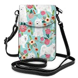 XCNGG bolso del teléfono Women Girls Small Crossbody Cell Phone Purse Wallet with Card Slots Mini Messenger Shoulder Bag Wallet for Travel Work Outdoor, Samoyed Dogs Floral Dog