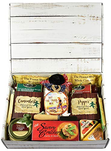 Gift Basket Village Hit The Trail Care Package Box with Trail Worthy Hearty Meat and Cheese Themed Trail Mix Gourmet Cheese Spreads and More..., Savory Snacks, 1 Count