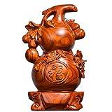像ウールーひょうたん風水 中国の幸運ウールー/フールーひょうたん/富のためのキュウリの彫刻平和な銅の収集可能なフィギュアチャームのお守り 木