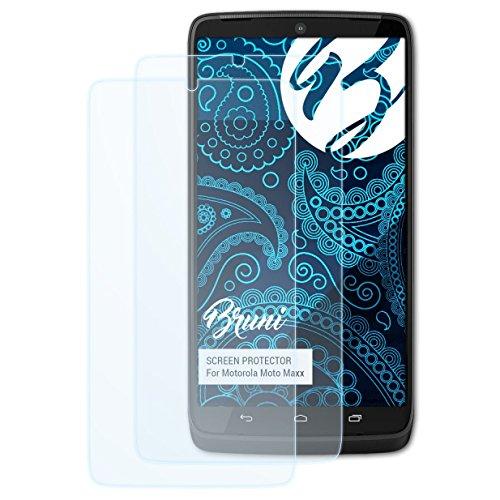 Bruni Schutzfolie kompatibel mit Motorola Moto Maxx/Droid Turbo Folie, glasklare Bildschirmschutzfolie (2X)