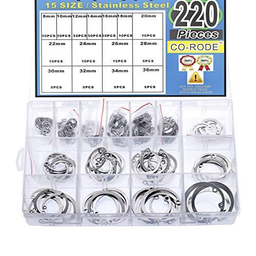 CO-RODE 220Pcs 304 Stainless Steel Internal Circlip Snap Retaining Clip Ring Assortment Set