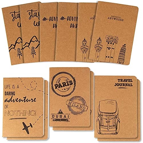 Kraft Paper Notebook, Travelers Journal (4 x 5.75 Inches, 12-Pack)