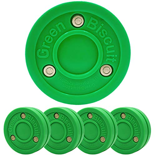 Green Biscuit Original Hockey Training Puck Passing, Toe Drag Stickhandling (Farbe wählbar), Original Green 4 Pack