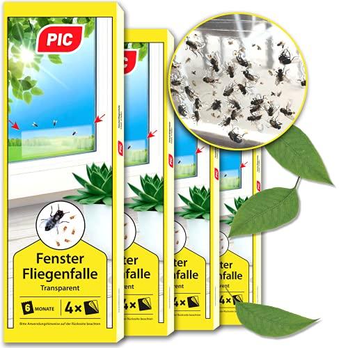 PIC – Fenster-Fliegenfalle – 4x4=16 Stück – Giftfreie, Geruchlose Leimfalle zum Fangen von Fliegen und Fruchtfliegen