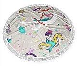 Falda de árbol de Navidad Sirena Canción de cuna Cute30'36'48'Tela cepillada con encaje blanco con flecos