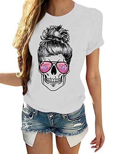 BRUBOBO Womens Mom Life Printed T Shirts Casual Summer Short Sleeve Cute Skull Graphic Tops Tees (Small,White)