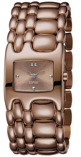 Esprit Damen-Armbanduhr Houston Delta Pure Brown Analog Quarz Edelstahl ES103902005