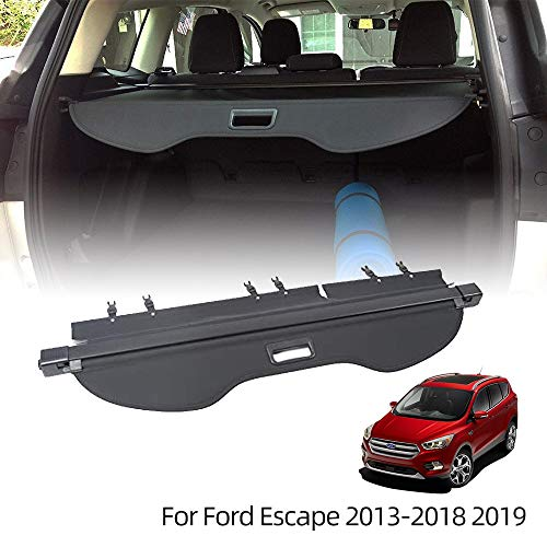 VESUL Retractable Rear Trunk Cargo Cover Fit for Ford Escape 2013-2019 Security Shade Shield Tonneau Cover Anti-Peeping Luggage Privacy Screen with Extra Canvas Cover
