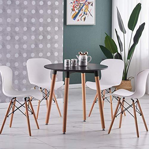 Life Interiors: Juego de comedor Alessia (mesa redonda y 4 sillas) | Comedor | Muebles | Sillas modernas | (Mesa de roble y sillas blancas)