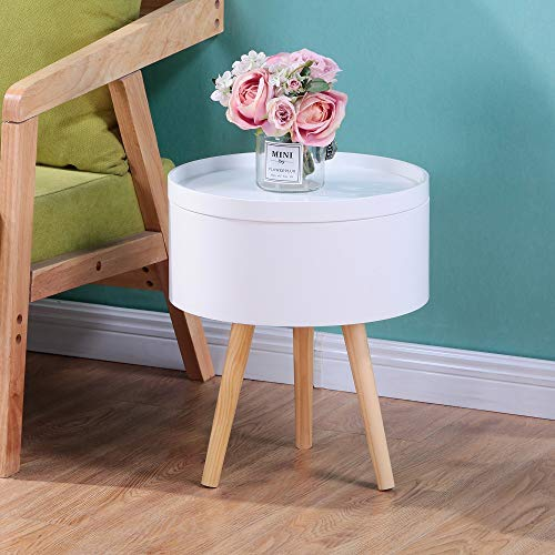 GOLDFAN Wooden Coffee Table Small Side Table White Round End Table with Storage Box for Living Room Bedroom 38x38x45cm