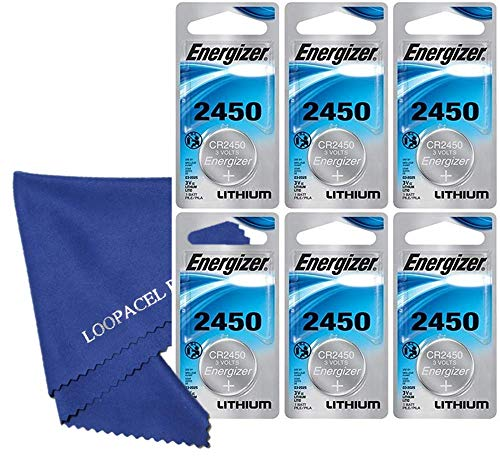 6 Energizer 2450 CR2450 ECR2450 Lithium Batteries - with Loopacell Brand Microfiber Cleaning Cloths Ultra Smooth