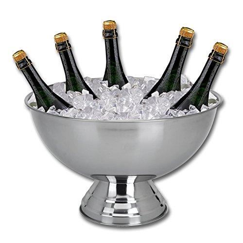 TW24 Champagnerkühler Edelstahl Sektschale Sektkühler Champagnerschale Edelstahlschale Weinkühler Flaschenkühler Getränkekühler Champagner Kühler groß