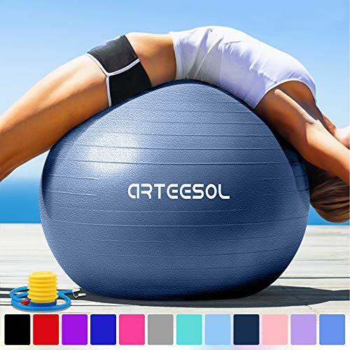 arteesol Balle Fitness 45cm/55cm/65cm/75cm Anti-éclatement Anti-dérapant Ballon de Yoga Swiss Ball Accouchement Balle Rapide Pompe Fitness Gym Pilates Core Training Physique (Bleu Foncé,55cm)