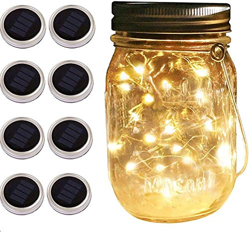 Solar Mason Jar Lid String Lights, 8 Pack 20 Led String Fairy Star Firefly Jar Lids Lights (Jars Not Included), for Mason Jar Patio Garden Wedding Lantern Table Decoration? No Hangers) (Warm Wite)
