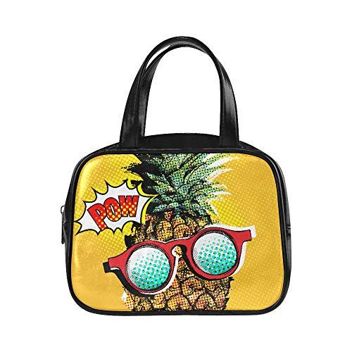 Handtasche Männer Pop Art Comic Poster Bild Ananas Womans Zipper Bag Handtasche Mädchen Pu Leder Top Griff Satchel Fashion Womens Taschen