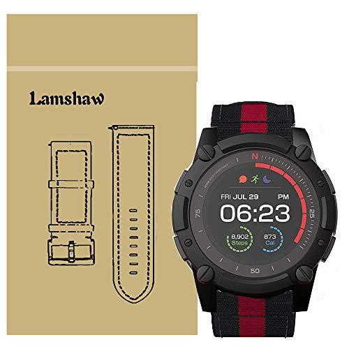 LvBu Armband Kompatibel für PowerWatch 2, Nylon Strick Replacement Uhrenarmband für Matrix PowerWatch 2 Smartwatch (schwarz+rot+schwarz)