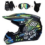 WanSheng Casques de Moto-Cross & Masque Coupe-Vent & Gants & Goggles D.O.T Casque de VTT Quad Standard pour Enfants,S55~56CM