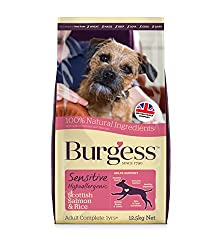 New look, same ideal taste! Burgess Sensitive is a dry dog food made without many of the typical ingredients that can cause sensitivities for dogs. Burgess Sensitive Dog Food Salmon is formulated to support a sensitive tummy. Builds strong bones and ...