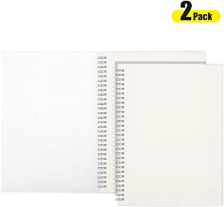 (2-Pack) B5 Spiral Blank Notebook - AHGXG Drawing Sketchbook 7.3x10 Inch with 100 gsm Thick Unlined Paper, 80 Sheets Per Pack