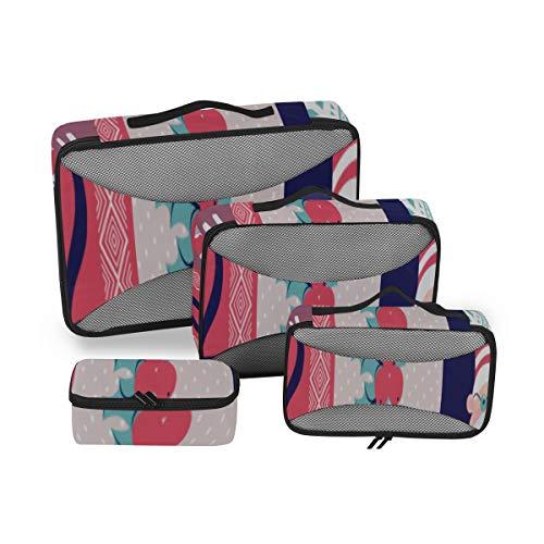 Reise-Packtaschen/Gepäck-Organizer-Taschen Netter Weihnachts-Adventskalender Packwürfel Gepäck-Organizer Reise-Organisations-Würfel für die Reise 4-teiliger Koffer-Organizer Leichte Gepäckaufbewahr