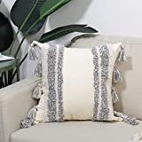 "Boho Throw Pillow Cover with Tassels, Tribal Beige Gray Square Pillow 18""x18"" for Bed Sofa Couch Bedroom Living Room"