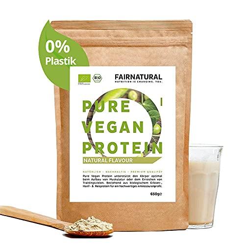 Proteina Vegana en Polvo ORGANICA Neutra/Natural sin soja - 650g de proteína sin edulcorante para la dieta y la construcción de músculo - proteína orgánica en polvo sin azúcar
