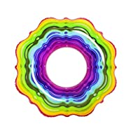 INFLATABLE RING: perfect for pools, lakes or beaches; use it at home or away DURABLE MATERIAL: durable vinyl, scratch and tear resistant BRIGHT COLOUR: stand out with the fashionable rainbow design and jelly graphic EASY TO INFLATE: and deflate for h...