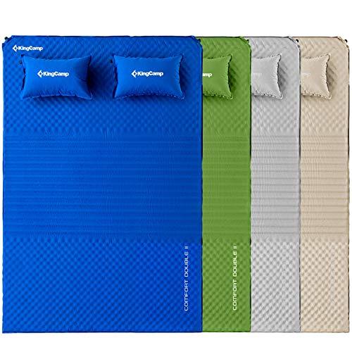 KingCamp Doppel Isomatte Selbstaufblasbare Campingmatratze mit 2 Selbstaufblasenden Kissen für Camping Outdoor, Super Komfort für 2 Personen, 198 × 130 × 4 cm, Grün