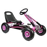 Bopster- Coche De Pedales Go-Kart con Ruedas Hinchables 5-8 Años- Rosa
