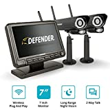 Defender PHOENIXM2 Wireless Outdoor Security Camera System with a 7' High Resolution Monitor, Two Night Vision Cameras, Two Way Communication and SD Card Recording, Plug and Play