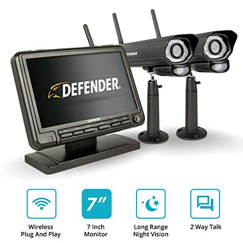 """Defender PHOENIXM2 Wireless Outdoor Security Camera System with a 7"""" High Resolution Monitor, Two Night Vision Cameras, Two Way Communication and SD Card Recording, Plug and Play Security Surveillance"""